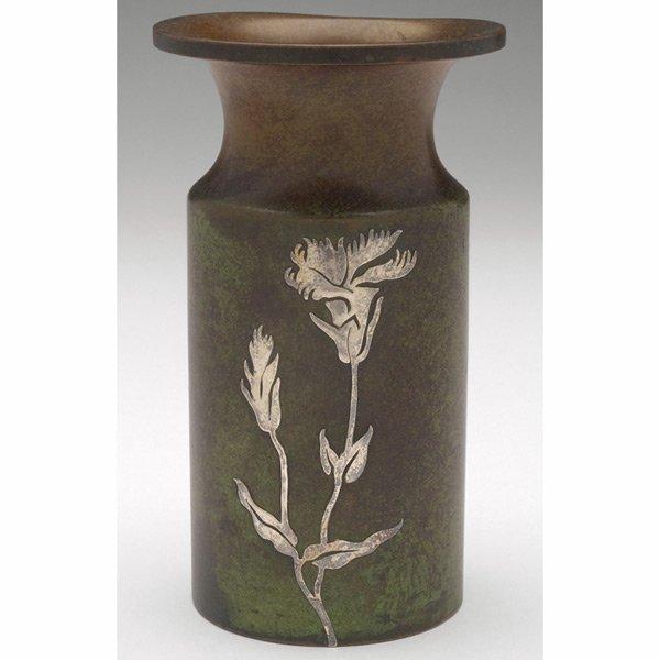 18: Heintz vase, sterling on bronze