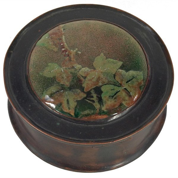 19: H.E, Potter hinged box, hammered copper