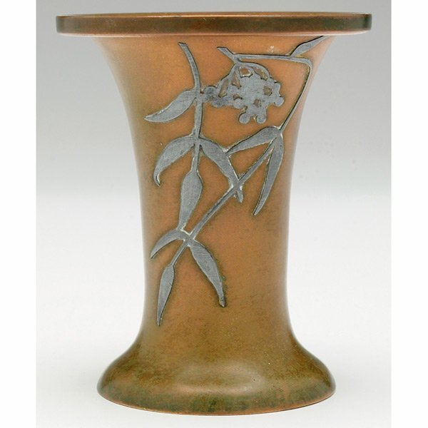 20: Heintz vase, flaring form, sterling on bronze