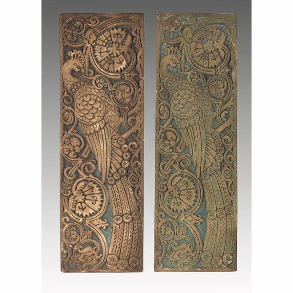166: Batchelder tile, carved stylized peacock
