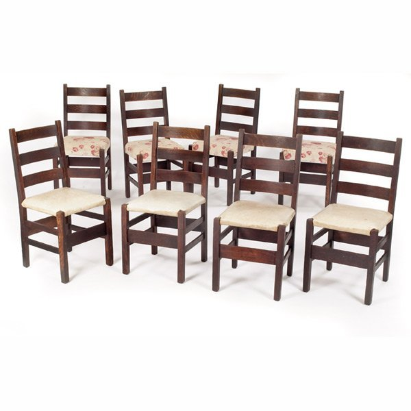 170: Gustav Stickley dining chairs, assembled set of ei