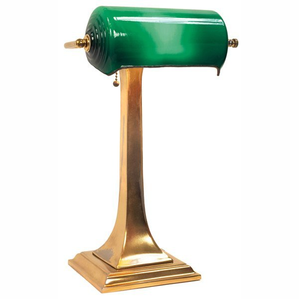 175: Emeralite banker';s lamp, cased green shade