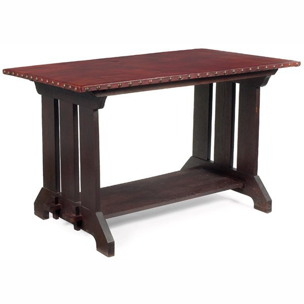 176: Arts & Crafts trestle table, leather top