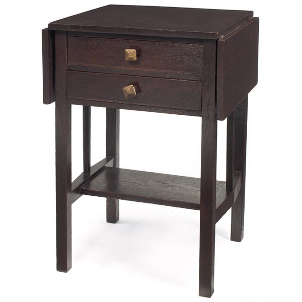 180: Arts & Crafts sewing stand, drop-leaf form