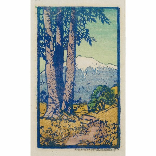181: Francis Gerhardt woodblock, mountain landscape