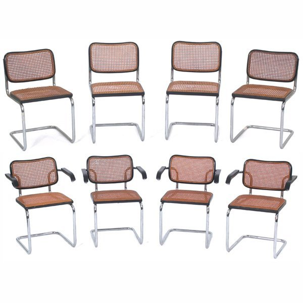 "1006: Marcel Breuer ""Cesca"" chairs, eight, by Gavina fo"