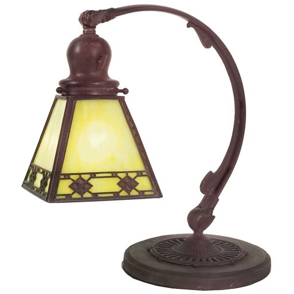 8: Handel desk lamp, diamond design copper base