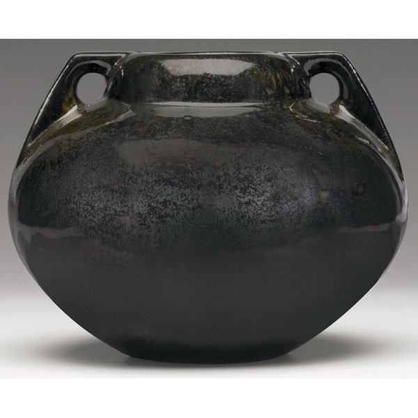 9: Fulper vase, bulbous double handled shape