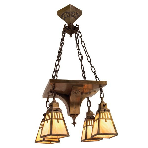 24: Arts & Crafts hanging fixture, brass geometric