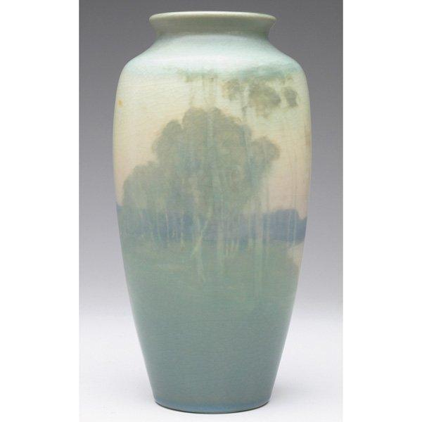 7: Rookwood vase, Vellum glaze, landscape Lorinda Epply