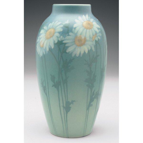8: Rookwood vase, Vellum glaze painted daisies, Ed Dier