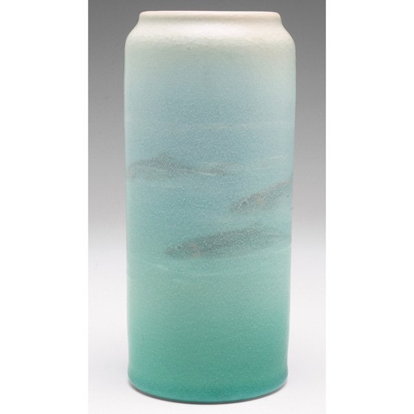 10: Rookwood vase, Vellum glaze  four fish Edith Noonan