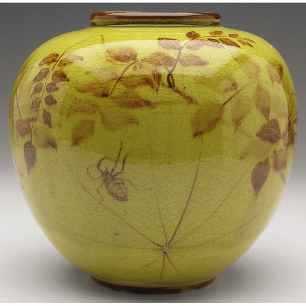 16: Rookwood vase, spider and leaves by Kay Ley