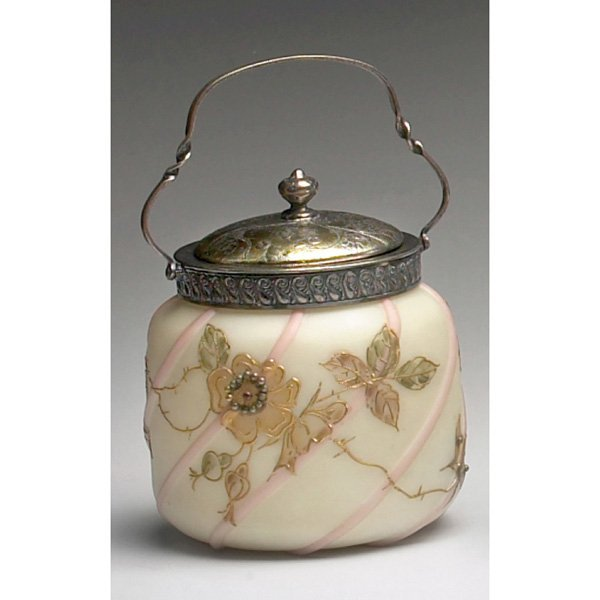 1211: Mt. Washington biscuit jar, stylized gold flowers