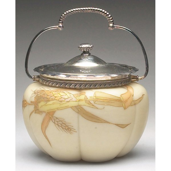 1213: Webb biscuit jar, enameled wheat stalks