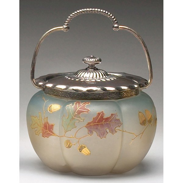 1214: Smith Brothers biscuit jar, enameled leaves
