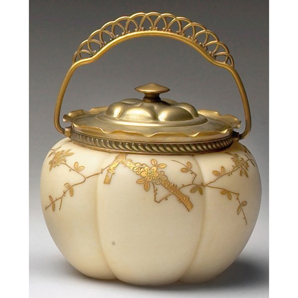 1215: Webb biscuit jar, gold flowers and leaves