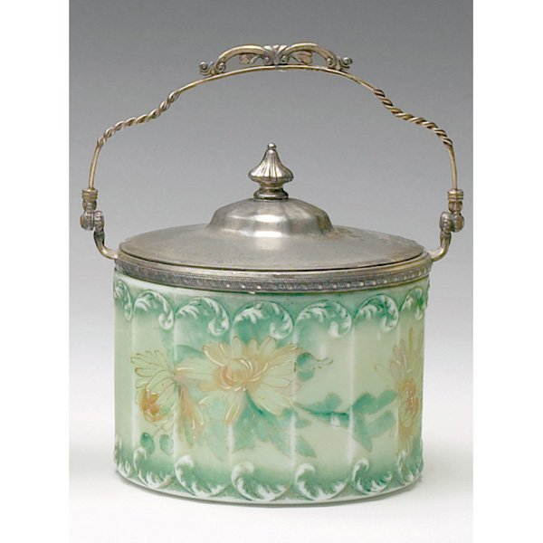 1223: Victorian biscuit jar, painted gold flowers