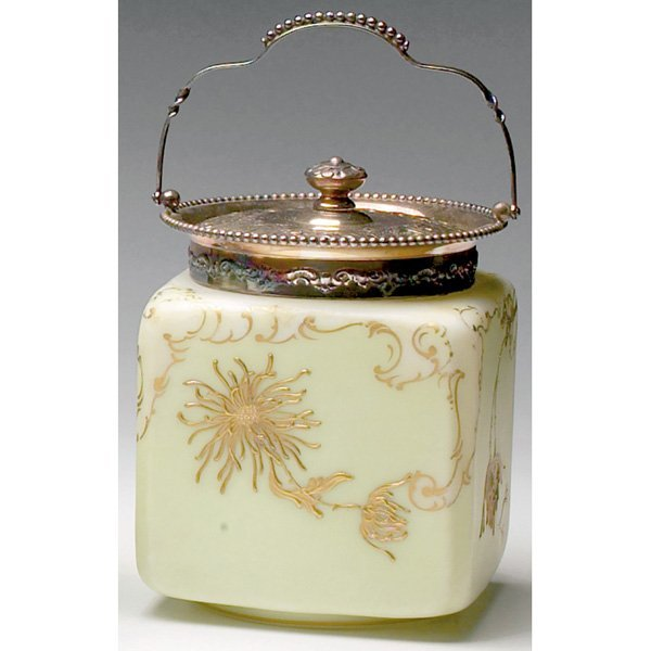 1224: Pairpoint biscuit jar, enameled chrysanthemuums