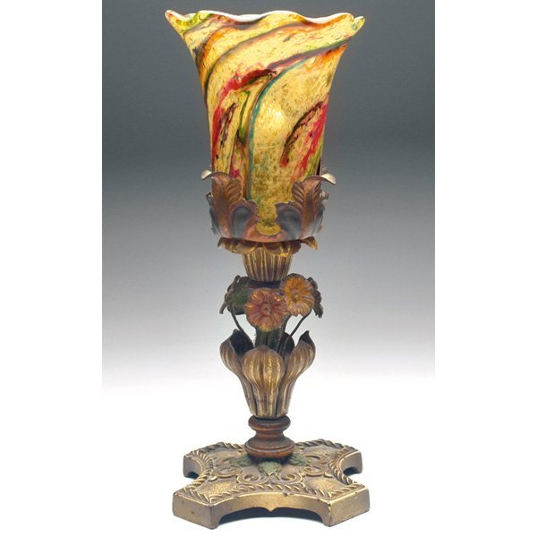 1444: 1444. Steuben Moss Agata lamp, multicolored glass