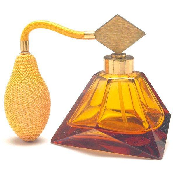1511: Art Glass perfume atomizer, amber colored glass