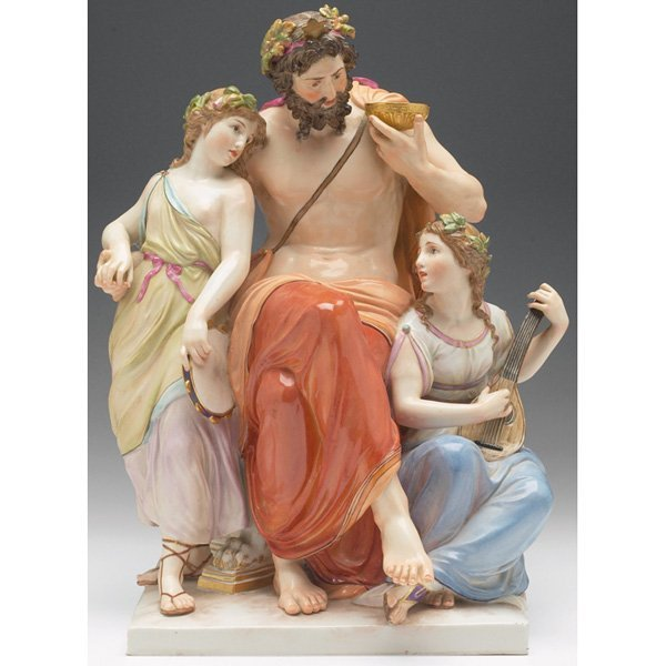 1742: Meissen sculpture, Baccus figure flanked by women