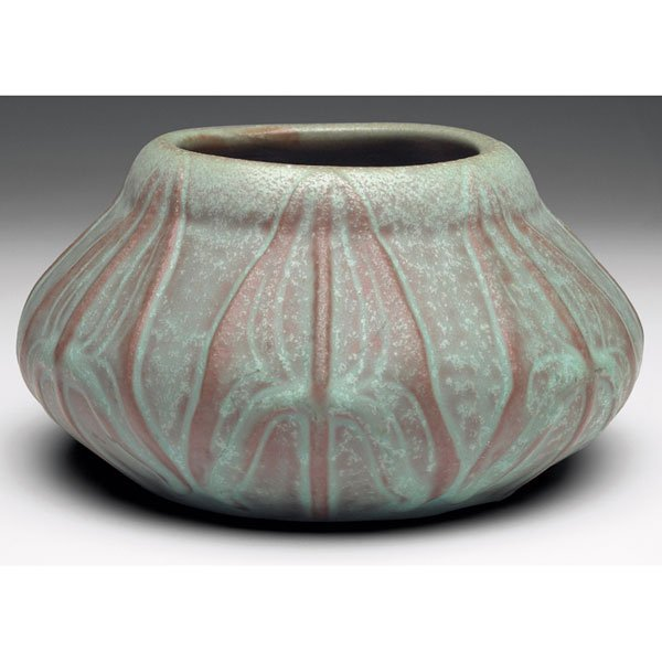 2: Van Briggle vase, 1907, broad vertical leaves