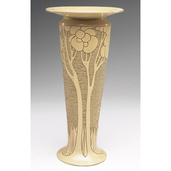 24: Rozane Della Robbia vase, tapered and footed shape