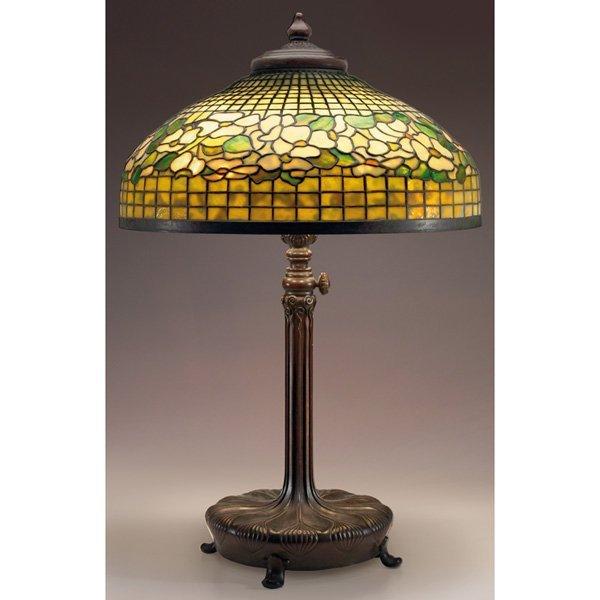 510: Tiffany Studios lamp, large leaded glass