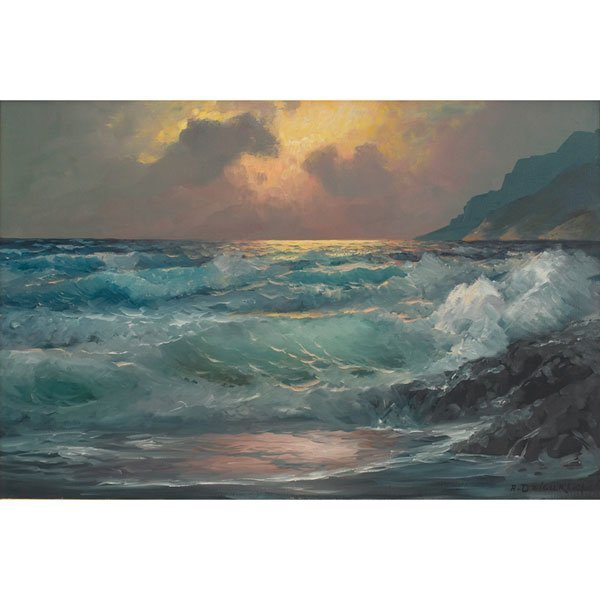 563: Alexander A. Dzigurski,  Coastal Sunset, oil