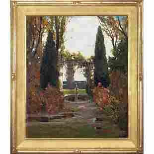 608: Anthony Thieme, Garden in Autumn, oil