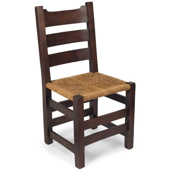 "4: Early Gustav Stickley side chair, in chestnut, ""U"" b"