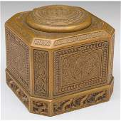 579: Tiffany Studios inkwell, large form, bronze in the