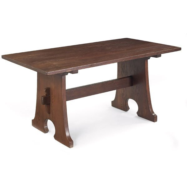 23: L and JG Stickley library table, #599,