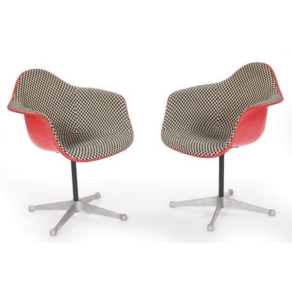 846: Eames PAC-1 shell chair pair Girard fabric