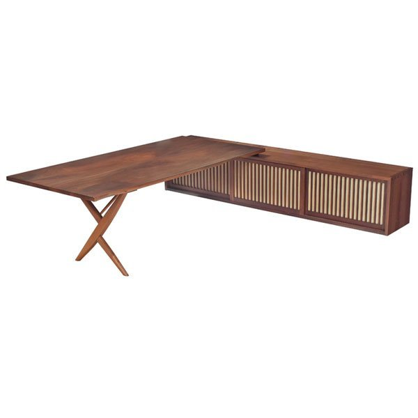 876: George Nakashima desk, walnut, wall-mounted, 1969