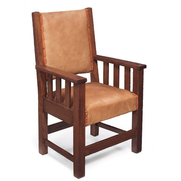 5: Arts and Crafts armchair, three vertical slats under