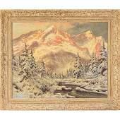 493 Laszlo Neogrady Snow in the Alps oil on canvas