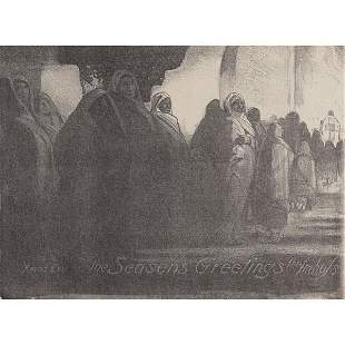 613: Arnold Blanch lithograph, with three other prints