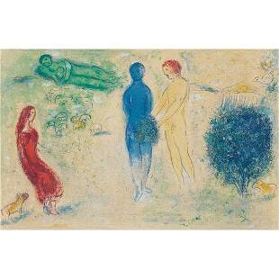 """642: Marc Chagall """"Chloe's Judgement,"""" color lithograph"""