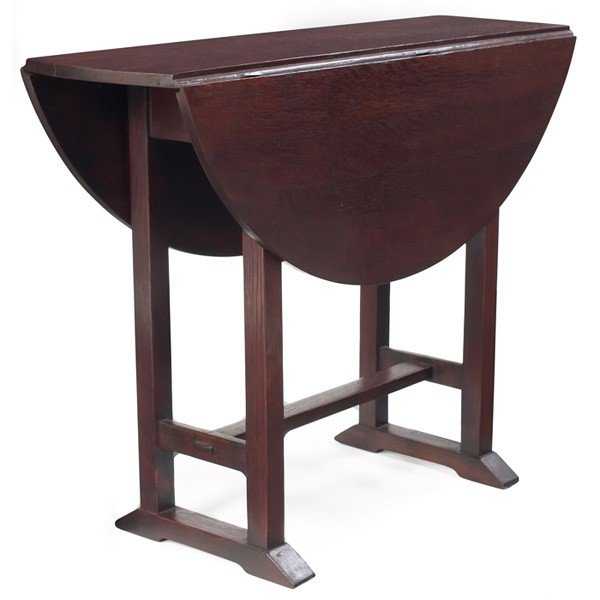3: Gustav Stickley table, #672, drop-leaf form on a sho