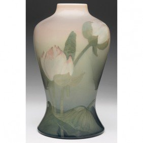 Rookwood Lamp Base, Water Lily Iris Glaze, Lenore A