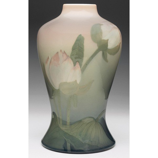 10: Rookwood lamp base, water lily Iris glaze, Lenore A