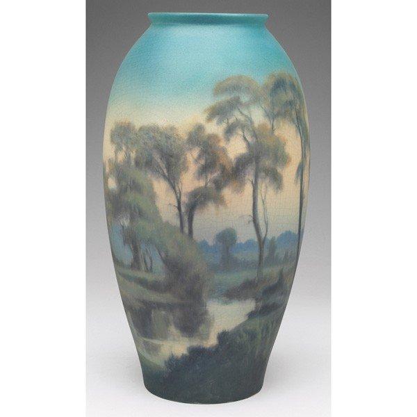 12: Rookwood vase, big swollen form, Vellum glaze elabo
