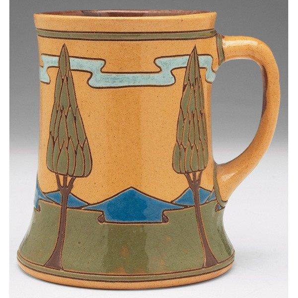 13: Rozane Della Robbia handled vessel, colorful styliz