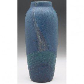 17: Rookwood vase, tapered shape blue matte glaze, inci