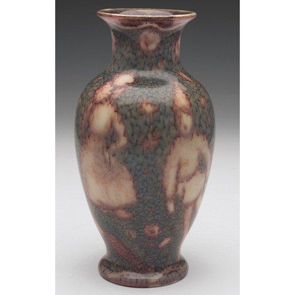 18: Rookwood vase, bulbous footed shape, stylized scene