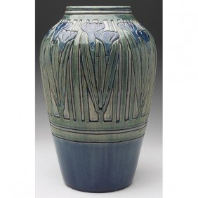 83: Newcomb College vase, c. 1905, deeply carved and fi