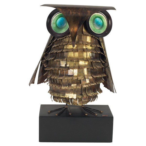 1050: Curtis Jere owl sculpture, 1971, brass form with