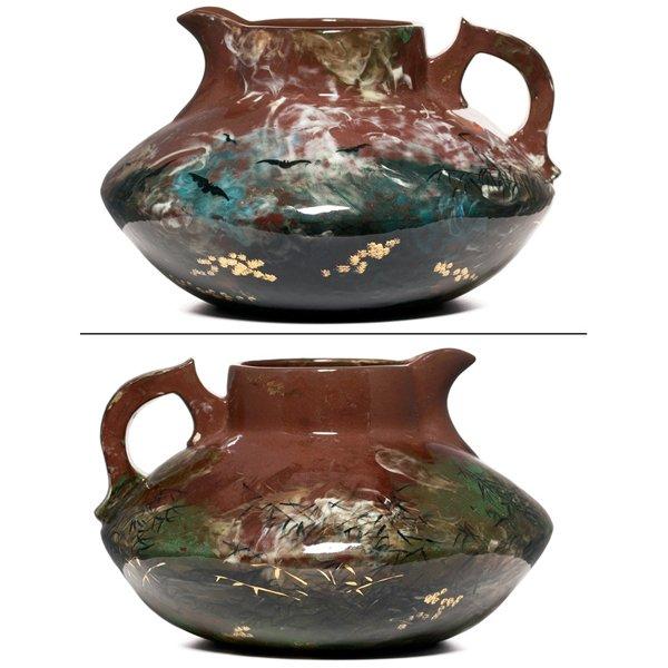 3: Rookwood handled vessel,  Limoges glaze